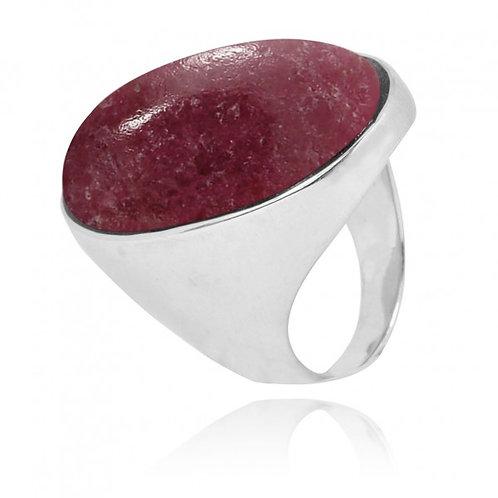 [NRB5973-RDN] Oval Shape Rhodonite Statement Ring