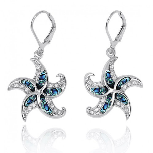 [NEA3222-ABL-WHCZ] Starfish Lever Back Earrings with Abalon shell and White CZ