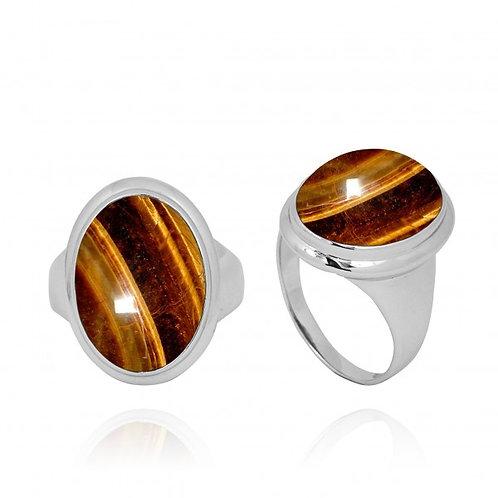 [NRB5495-BRTE] Oval Shape Brown Tiger Eye Ring