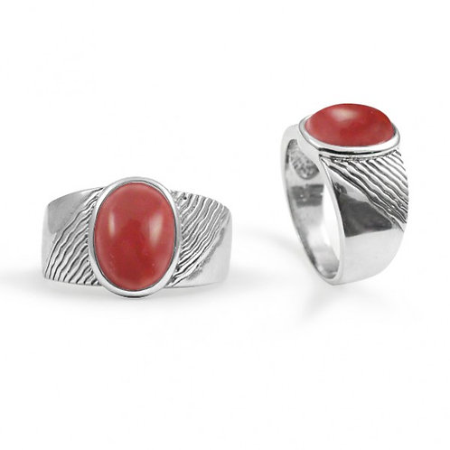 [NRB6796-SPC] Round Shape Sponge Coral Gemstone Ring