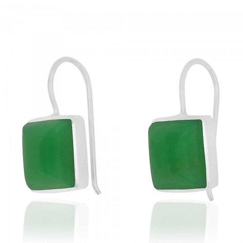 [NEA2411-CRP] Cushion Shape Chrysoprase Drop Earrings