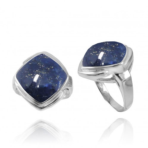 [NRB6809-LAP] Cushion Shape Lapis Lazuli Gemstone Ring