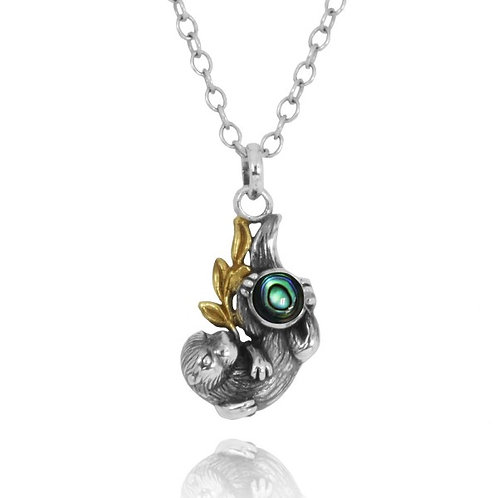[NP12864-ABL] Oxidized Silver Otter With Gold Holding Round Abalon shell Pend