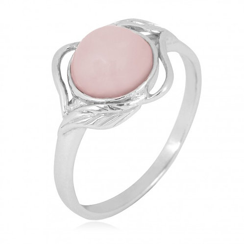 [NRB7481-PPKOP] Sterling Silver Peru Pink Opal Ring with Leaf Patterns