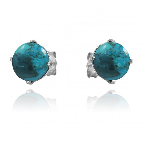 [NES3174-GRTQ] Round Shape Compressed Turquoise Stud Earrings