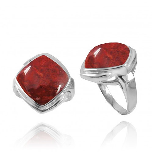 [NRB6809-SPC] Cushion Shape Sponge Coral Gemstone Ring