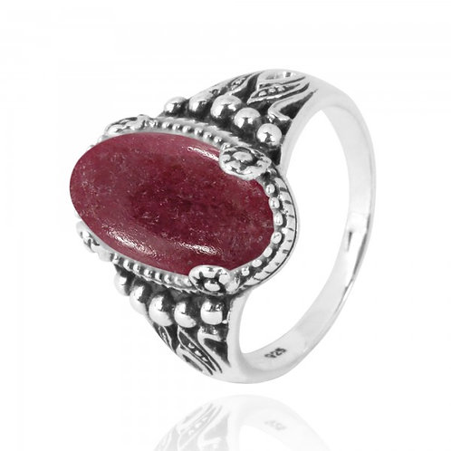 [NRB5215-RDN] Oval Shape Rhodonite Gemstone Ring