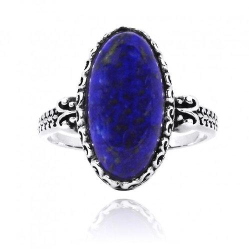 [NRB5213-LAP] Oval Shape Lapis Lazuli Solitaire Ring