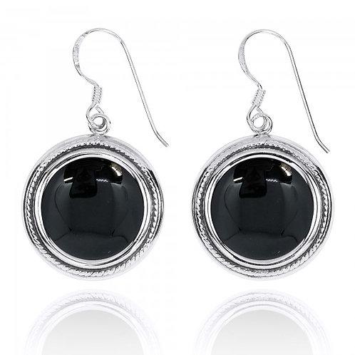 [NEA2714-BKON] Round Shape Black Onyx French Wire Earrings
