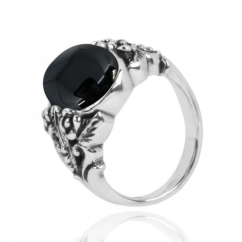 [NRB5097-BKON] Oval Shape Black Onyx Statement Ring