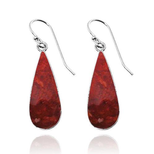 NEA1237-SPC - Pear Shape Sterlin Silver Sponge Coral Earrings - Gemstone Jewelry