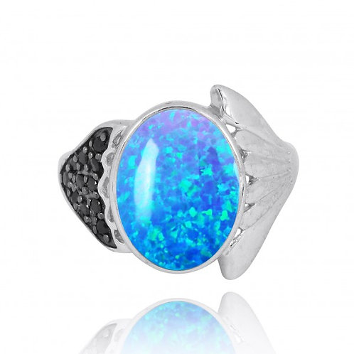 [NRB8370-BLOP-BKSP] Sterling Silver Fin Ring with Blue Opal and Black Spinel