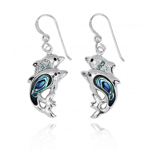 [NEA3243-ABL-SWBLT-BKSP] Sterling Silver Dolphin Drop Earrings with Abalon shell