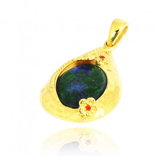 [NP11611-AZM-BKCZ-G] Golden Teardrop Pendant with Azurite Malachite and Garne