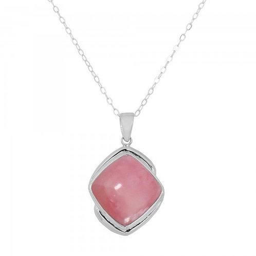 [NP9806-PPKOP] Cushion Shape Peru pink opal Pendant