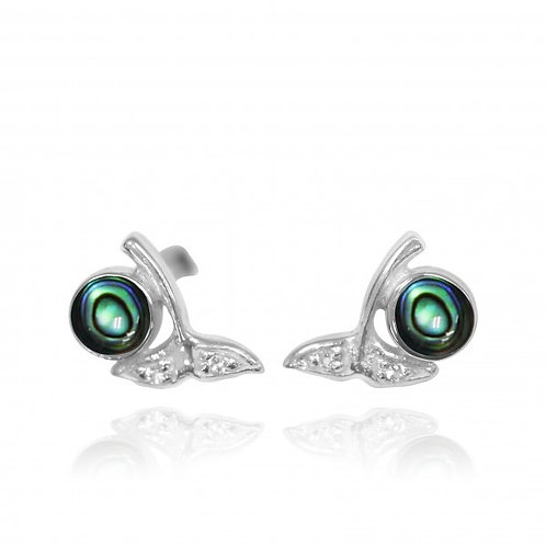 [NES3707-ABL-WHT] Sterling Silver Whale Tail Stud Earrings with Round Abalon she