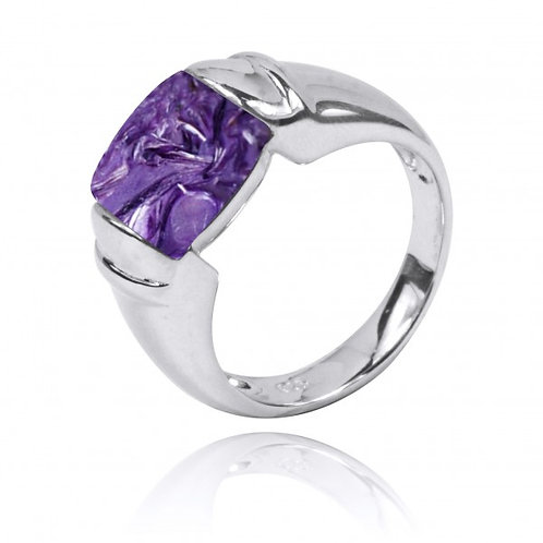 [NRB0764-CHR] Cushion Shape Charoite Gemstone Ring