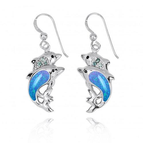 [NEA3243-BLOP-SWBLT-BKSP] Sterling Silver Dolphin Drop Earrings with Blue Opa