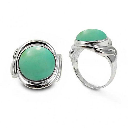 [NRB6617-CRP] Sterling Silver Ring with Round Chrysoprase