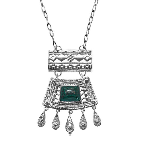 KNG17-CRY - Sterling Silver Chrysocolla Necklace- Gemstone Jewelry - Handmade