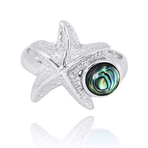 [NRB7225-ABL] Sterling Silver Starfish Ring with Round Abalon shell