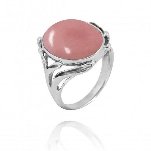 [NRB7477-PPKOP] Oval Shape Peru Pink Opal Cocktail, Statement Ring
