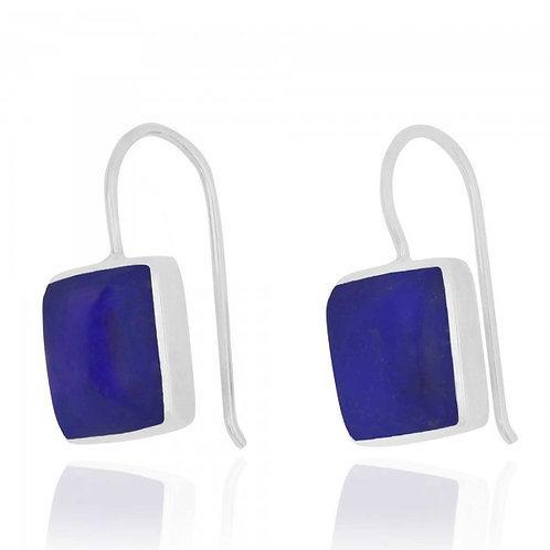 [NEA2411-LAP] Cushion Shape Lapis Drop Earrings