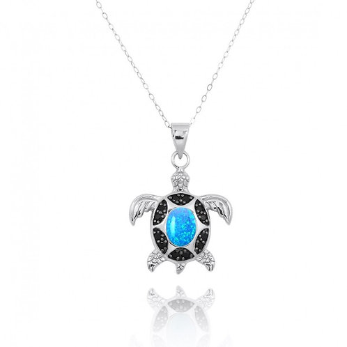 [NP11317-BLOP-BKSP] Sterling Silver Turtle Pendant with Blue Opal and Black Spin