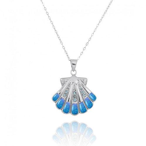 [NP11305-BLOP-SWBLT] Sterling Silver Seashell with Swiss Blue Topaz Blue Opal Pe