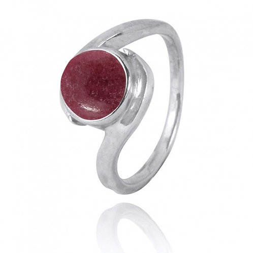 [NRB1002-RDN] Round Shape Rhodonite Gemstone Ring