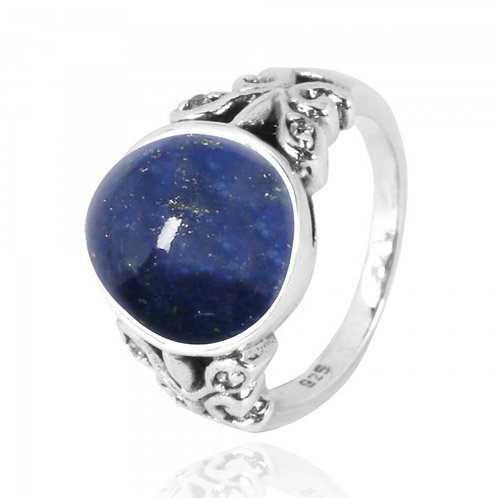 [NRB5096-LAP-WHCZ] Oval Lapis Oxidized Silver Ring with Butterflies and White CZ