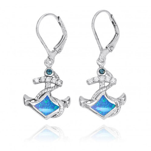 [NEA3138-BLOP-LBLT] Sterling Silver Anchor with Blue opal and London Blue Top