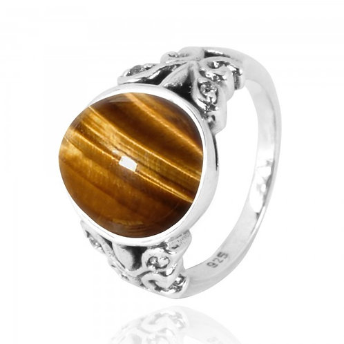 [NRB5096-BRTE-WHCZ] Oval Tiger Eye Oxidized Silver Ring with Butterflies and