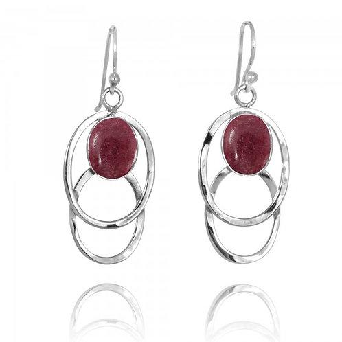 [NEA1852-RDN] Double Silver Oval Hoop Drop Earrings with Rhodonite