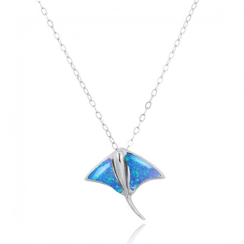 [NP10917-BLOP] Sterling Silver Stingray Pendant with Blue Opal