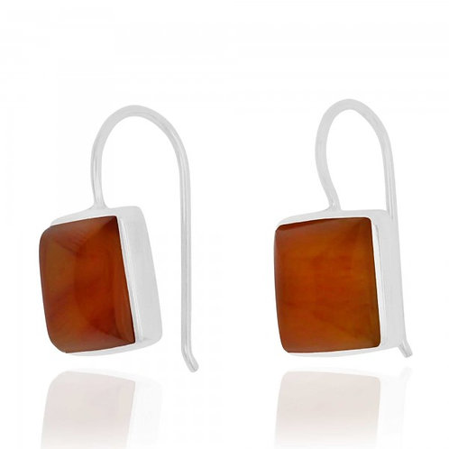 [NEA2411-CAR] Cushion Shape Carnelian Drop Earrings