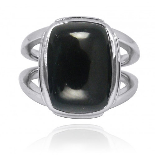 [NRB0766-BKON] Cushion Shape Black Onyx Statement Ring