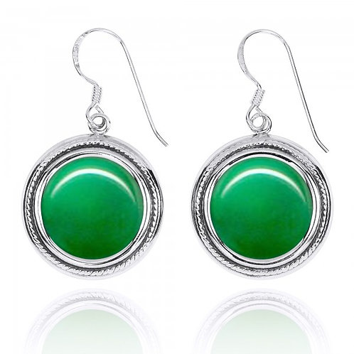 [NEA2714-CRP] Round Shape Chrysoprase French Wire Earrings