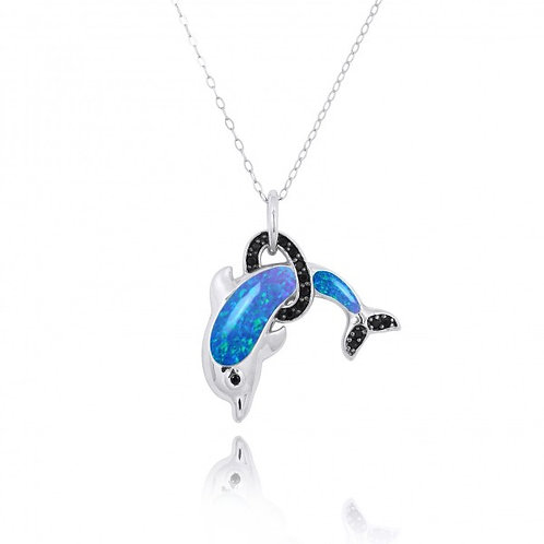 [NP11315-BLOP-BKSP] Sterling Silver Dolphin Pendant with Blue Opal and Black Spi