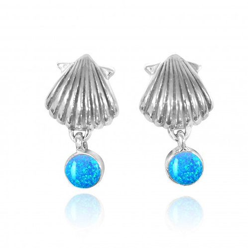 [NES3699-BLOP] Sterling Silver Seashell Stud Earrings with Dangling Round Blu