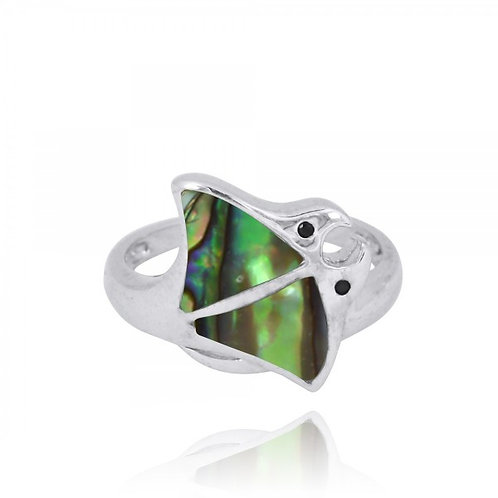 [NRB8363-ABL-BKSP] Sterling Silver Stingray Ring with Abalon shell and Black Spi