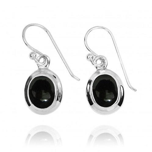 [NEA3272-BKON] Oval Shape Black Onyx Drop Earrings