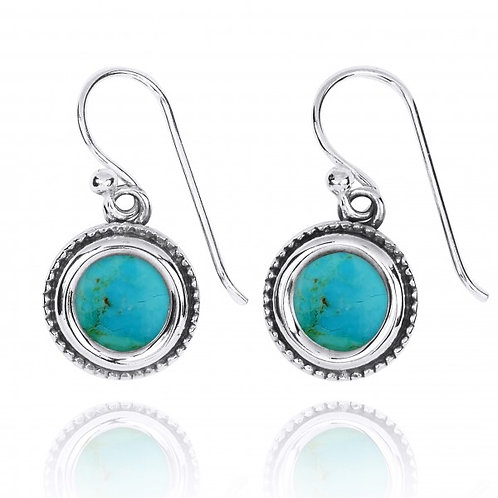 [NEA2710-GRTQ] Round Shape Compressed Turquoise Drop Earrings