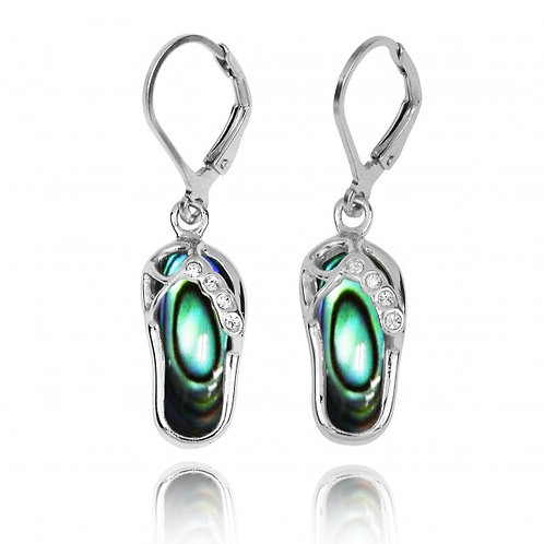 [NEA3255-ABL-CRS] Sterling Silver Sandal Lobster Clasp Earrings with Abalon and