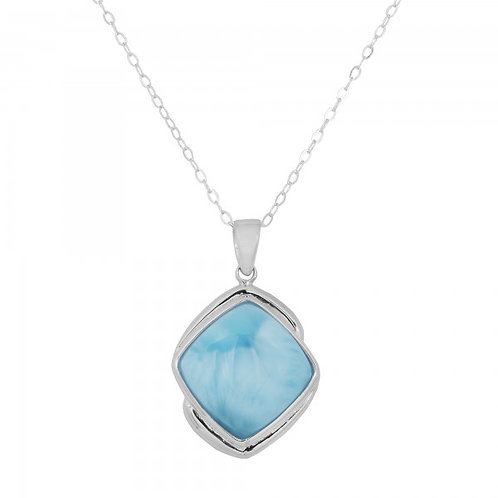 [NP9806-LAR] Cushion Shape Larimar Pendant