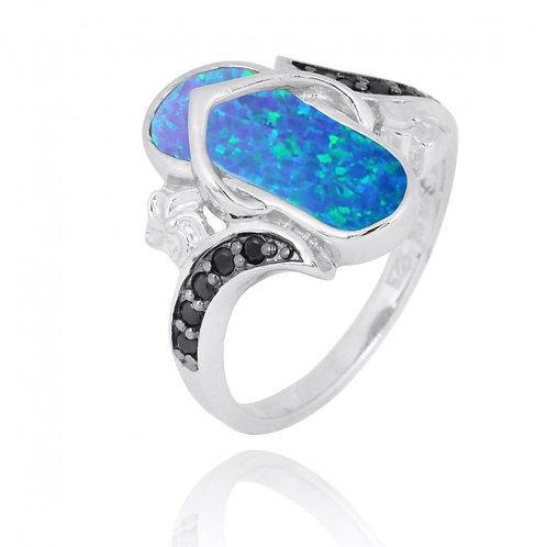 [NRB8365-BLOP] Sterling Silver Sandal Ring with Blue opal and Black Spinel