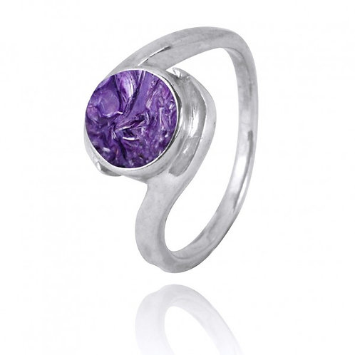 [NRB1002-CHR] Round Shape Charoite Gemstone Ring