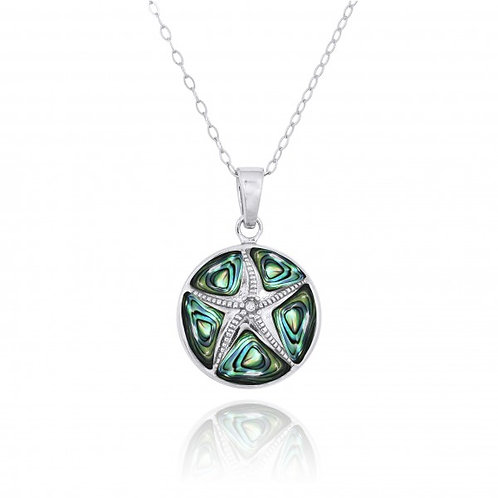[NP11009-ABL-CRS] Sterling Silver Starfish with Crystal and Abalon shell Pendant