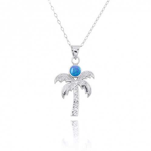[NP11316-BLOP-WHCZ] Sterling Silver Palm Tree Pendant with Blue opal and Whit