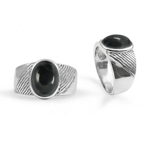 [NRB6796-BKON] Round Shape Black Onyx Gemstone Ring